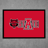 Full Color Indoor Floor Mat-Red Wolf Head w/A State