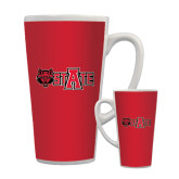 Full Color Latte Mug 17oz-Red Wolf Head w/A State