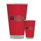 Full Color Glass 17oz-Red Wolf Head w/A State