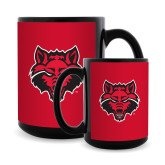 Full Color Black Mug 15oz-Red Wolf Head