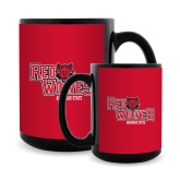 Full Color Black Mug 15oz-Red Wolves Stacked Head Centered
