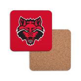 Hardboard Coaster w/Cork Backing-Red Wolf Head
