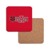 Hardboard Coaster w/Cork Backing-Red Wolf Head w/A State