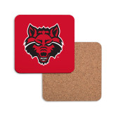 Hardboard Coaster w/Cork Backing-Red Wolf Head
