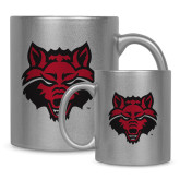 Full Color Silver Metallic Mug 11oz-Red Wolf Head