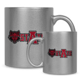 11oz Silver Metallic Ceramic Mug-Red Wolf Head w/A State