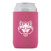 Collapsible Hot Pink Can Holder-Red Wolf Head