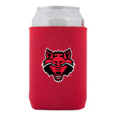 Neoprene Red Can Holder-Red Wolf Head