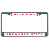 Metal License Plate Frame in Black-Arkansas State Red Wolves