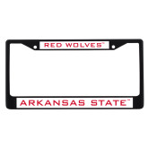 Metal License Plate Frame in Black-Red Wolves