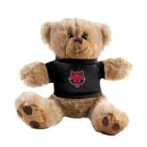 Plush Big Paw 8 1/2 inch Brown Bear w/Black Shirt-Red Wolf Head