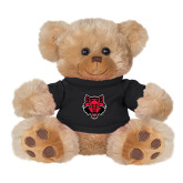 Plush Big Paw 8 1/2 inch Brown Bear w/Black Shirt-Red Wolf Head