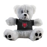 Plush Big Paw 8 1/2 inch White Bear w/Black Shirt-Red Wolf Head