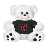 Plush Big Paw 8 1/2 inch White Bear w/Black Shirt-Red Wolf Head