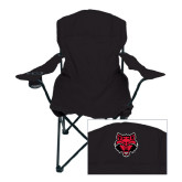 Deluxe Black Captains Chair-Red Wolf Head
