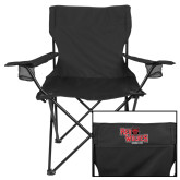 Deluxe Black Captains Chair-Red Wolves Stacked Head Centered