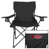 Deluxe Black Captains Chair-A State w Red Wolf