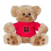 Plush Big Paw 8 1/2 inch Brown Bear w/Red Shirt-Red Wolf Head