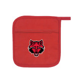 Quilted Canvas Red Pot Holder-Red Wolf Head