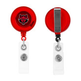 Red Retractable Badge Holder-Red Wolf Head