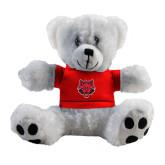 Plush Big Paw 8 1/2 inch White Bear w/Red Shirt-Red Wolf Head