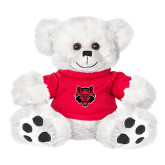 Plush Big Paw 8 1/2 inch White Bear w/Red Shirt-Red Wolf Head