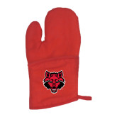 Quilted Canvas Red Oven Mitt-Red Wolf Head