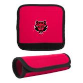Neoprene Red Luggage Gripper-Red Wolf Head