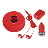 3 in 1 Red Audio Travel Kit-Red Wolf Head