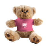 Plush Big Paw 8 1/2 inch Brown Bear w/Pink Shirt-Red Wolf Head