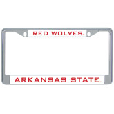 Metal License Plate Frame in Chrome-Arkansas State Red Wolves