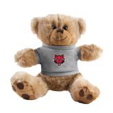 Plush Big Paw 8 1/2 inch Brown Bear w/Grey Shirt-Red Wolf Head