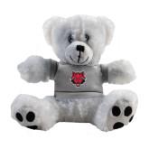 Plush Big Paw 8 1/2 inch White Bear w/Grey Shirt-Red Wolf Head
