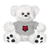 Plush Big Paw 8 1/2 inch White Bear w/Grey Shirt-Red Wolf Head