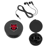 Ear Buds in Black Case-Red Wolf Head