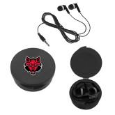 Ear Buds in Black Case-Red Wolf Head