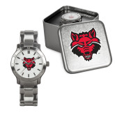 Mens Stainless Steel Fashion Watch-Red Wolf Head