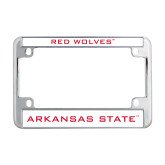 Metal Motorcycle License Plate Frame in Chrome-Red Wolves