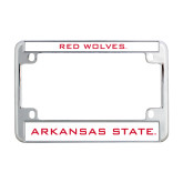 Metal Motorcycle License Plate Frame in Chrome-Arkansas State