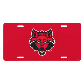 License Plate-Red Wolf Head