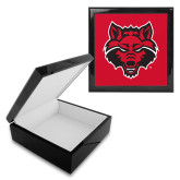 Ebony Black Accessory Box With 6 x 6 Tile-Red Wolf Head