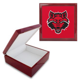 Red Mahogany Accessory Box With 6 x 6 Tile-Red Wolf Head