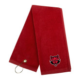 Red Golf Towel-Red Wolf Head