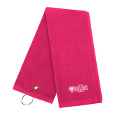 Pink Raspberry Golf Towel-A State w Red Wolf