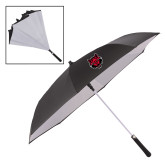 48 Inch Auto Open Black/White Inversion Umbrella-Red Wolf Head