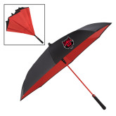 48 Inch Auto Open Black/Red Inversion Umbrella-Red Wolf Head