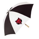 62 Inch Black/White Umbrella-Red Wolf Head
