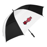 62 Inch Black/White Umbrella-Red Wolf Head w/A State
