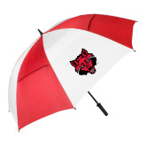 62 Inch Red/White Vented Umbrella-Red Wolf Head