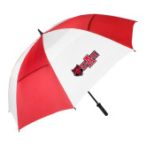 62 Inch Red/White Umbrella-Red Wolf Head w/A State